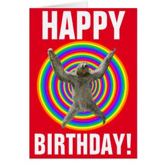 Magical Rainbow Sloth Birthday Greeting Card