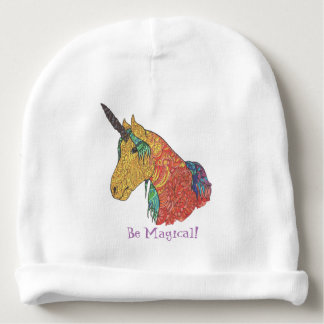 Magical rainbow unicorn baby beanie