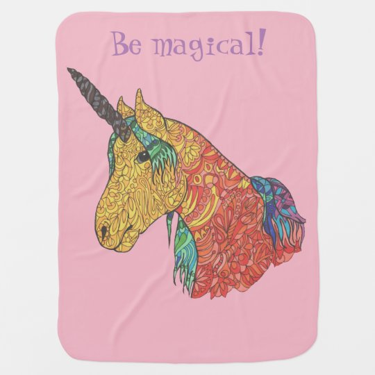 Magical rainbow unicorn baby blanket