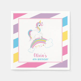 Magical Rainbow Unicorn Birthday Disposable Serviette