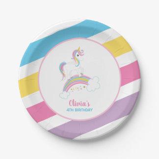 Magical Rainbow Unicorn Birthday Paper Plate