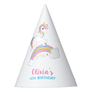 Magical Rainbow Unicorn Birthday Party Hat