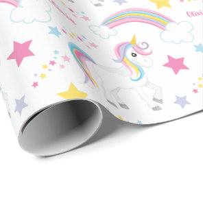 Magical Rainbow Unicorn Birthday Personalised Wrapping Paper