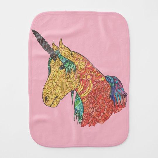 Magical rainbow unicorn burp cloth