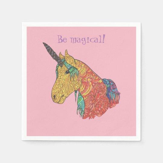 Magical rainbow unicorn paper napkin