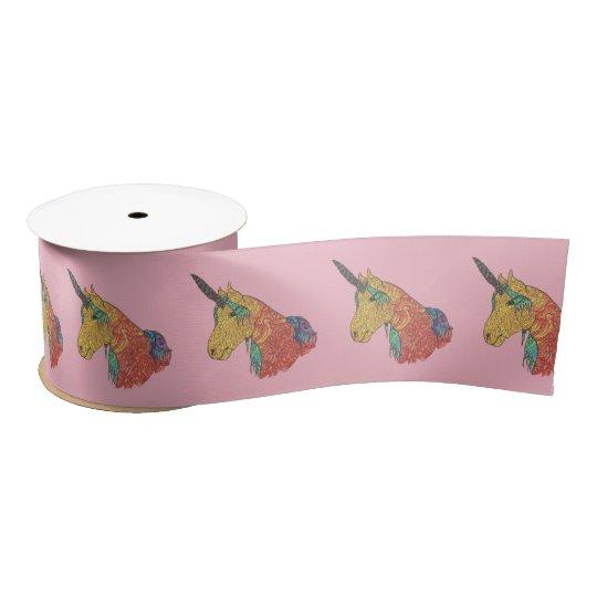 Magical rainbow unicorn satin ribbon