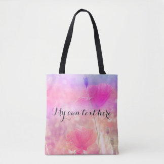 Magical red poppies tote bag with your own text