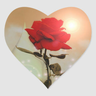 Magical Red Rose and Teardrop Valentine Heart Sticker