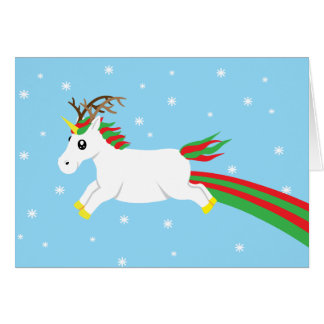 Magical Reindeer Unicorn Holiday Christmas Card