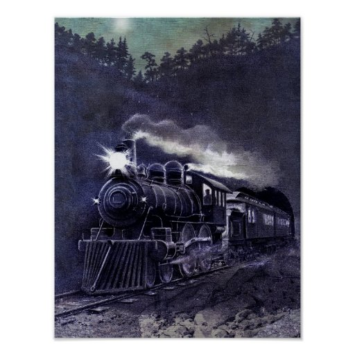 Magical Steam Engine Victorian Train Poster