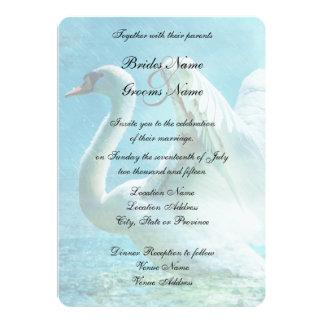 "Magical Swan During a Summer Shower Wedding 5"" X 7"" Invitation Card"