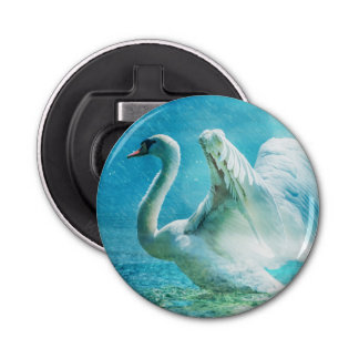 Magical Swan During a Summer Shower Button Bottle Opener