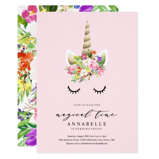 Magical Time Unicorn Birthday Invitation