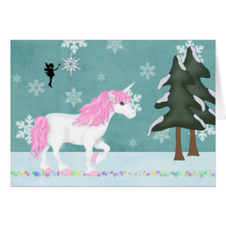 Magical Unicorn and Fairy Winter Forest Holiday Card