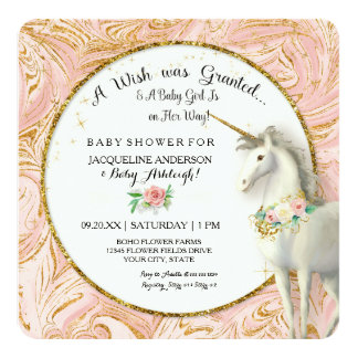 Magical Unicorn Baby Girl Shower Marble Rose Gold 13 Cm X 13 Cm Square Invitation Card