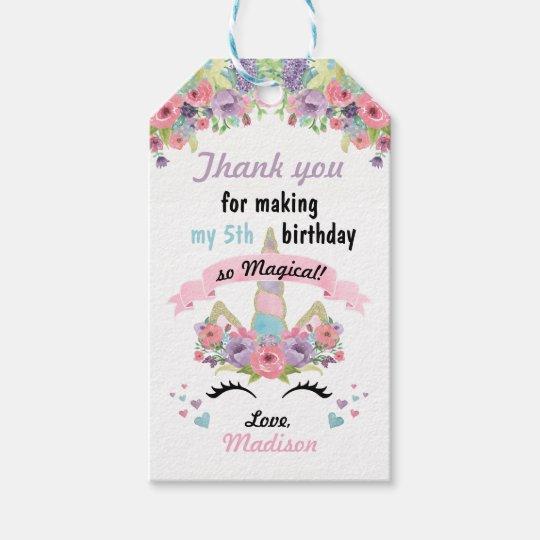 Magical Unicorn Birthday Favor Gift Tags