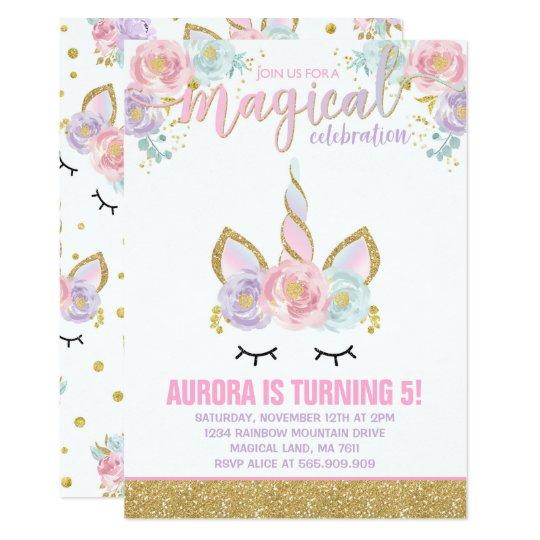 Magical Unicorn Birthday Invitation Unicorn Party