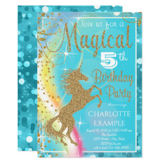 Magical Unicorn Birthday Party Invitations