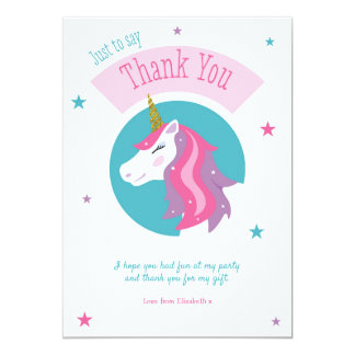 Magical Unicorn Birthday Thank You Card