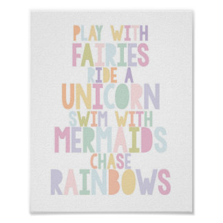 MAGICAL UNICORN, FAIRIES, MERMAIDS, RAINBOWS PRINT
