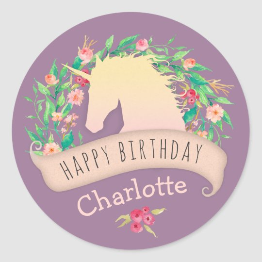 Magical Unicorn Floral Birthday Party Classic Round Sticker
