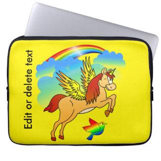 Magical Unicorn Flying Through The Air Laptop Sleeve