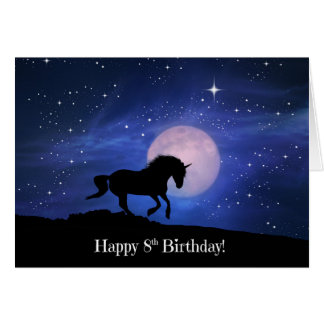 Magical Unicorn Happy 8th Birthday Card