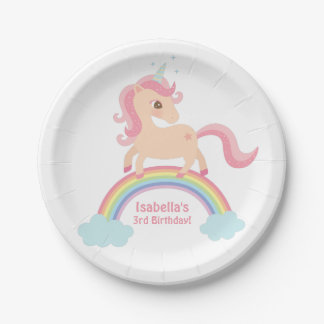 Magical Unicorn on Rainbow Birthday Party Supplies Paper Plate