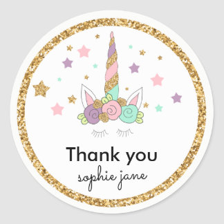 Magical Unicorn Pastel Colors & Gold Glitter Classic Round Sticker