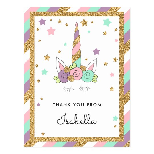 Magical Unicorn Pastel Colours Glitter Thank you Postcard