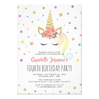 Magical Unicorn Pastel Gold Fairytale Birthday Invitation