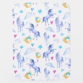 Magical Unicorn Pattern Watercolor Fantasy Design Baby Blanket
