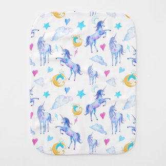 Magical Unicorn Pattern Watercolor Fantasy Design Burp Cloth