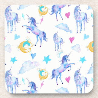 Magical Unicorn Pattern Watercolor Fantasy Design Coaster