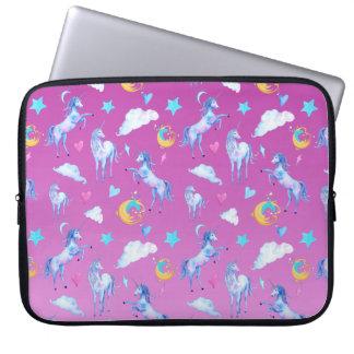 Magical Unicorn Pattern Watercolor Fantasy Design Laptop Sleeve