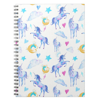 Magical Unicorn Pattern Watercolor Fantasy Design Notebook