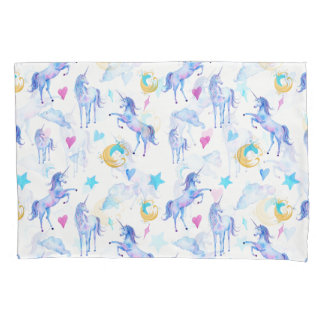 Magical Unicorn Pattern Watercolor Fantasy Design Pillowcase