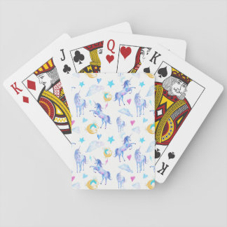 Magical Unicorn Pattern Watercolor Fantasy Design Playing Cards