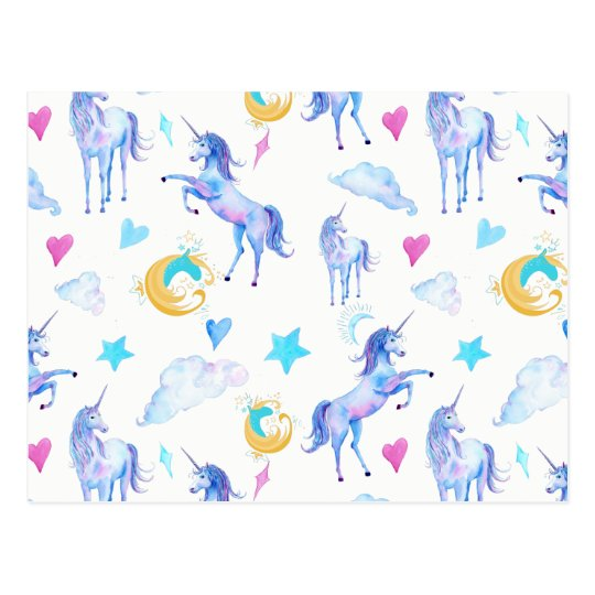 Magical Unicorn Pattern Watercolor Fantasy Design Postcard