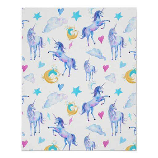 Magical Unicorn Pattern Watercolor Fantasy Design Poster
