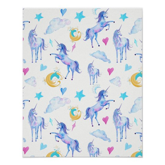 Magical Unicorn Pattern Watercolor Fantasy Design Poster