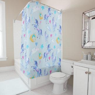 Magical Unicorn Pattern Watercolor Fantasy Design Shower Curtain