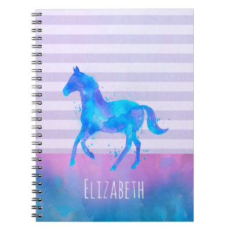 Magical Unicorn Pattern Watercolor Fantasy Design Spiral Notebook