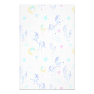 Magical Unicorn Pattern Watercolor Fantasy Design Stationery
