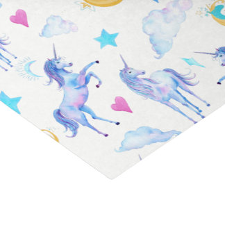 Magical Unicorn Pattern Watercolor Fantasy Design Tissue Paper