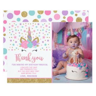 Magical Unicorn Photo Thank You Card Pink Gold