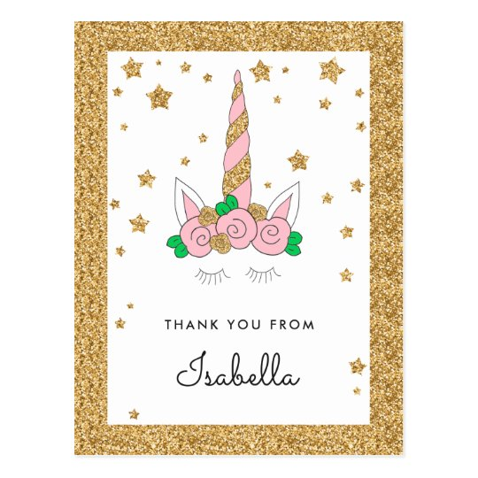 Magical Unicorn Pink and Gold Glitter Thank you