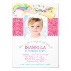 Magical Unicorn Pink Birthday Photo Invitations