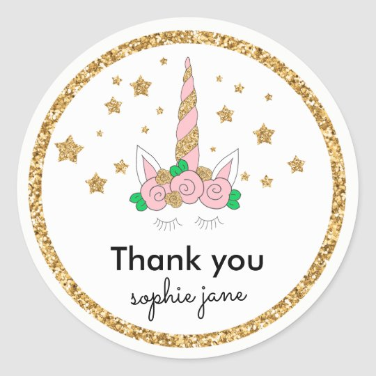 Magical Unicorn Pink & Gold Glitter Favour Tag