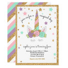 Magical Unicorn Pink, Mint, Purple, Gold Glitter Card